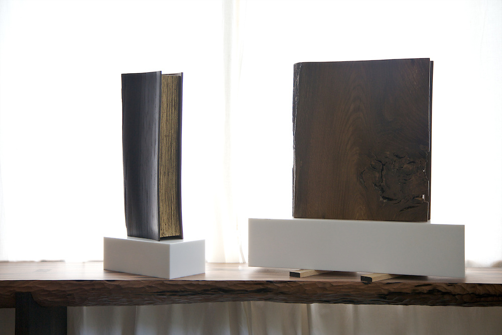 Wooden books by furniture maker Adrian Swintead in his Maulden Woods office, Bedfordshire<br /> CREDIT: Vanessa Berberian for The Wall Street Journal<br /> GURU-SWINSTEAD