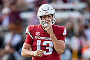 STARKVILLE, MS - NOVEMBER 17:  Connor Noland #13 of the Arkansas Razorbacks walks off the field during a game against the Mississippi State Bulldogs at Davis Wade Stadium on November 17, 2018 in Starkville, Mississippi.  The Bulldogs defeated the Razorbacks 52-6.  (Photo by Wesley Hitt/Getty Images) *** Local Caption *** Connor Noland