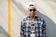 Gordon Voidwell posing for a portrait backstage at the 2014 Afropunk Music Festival in Brooklyn, NY on August 24, 2014.