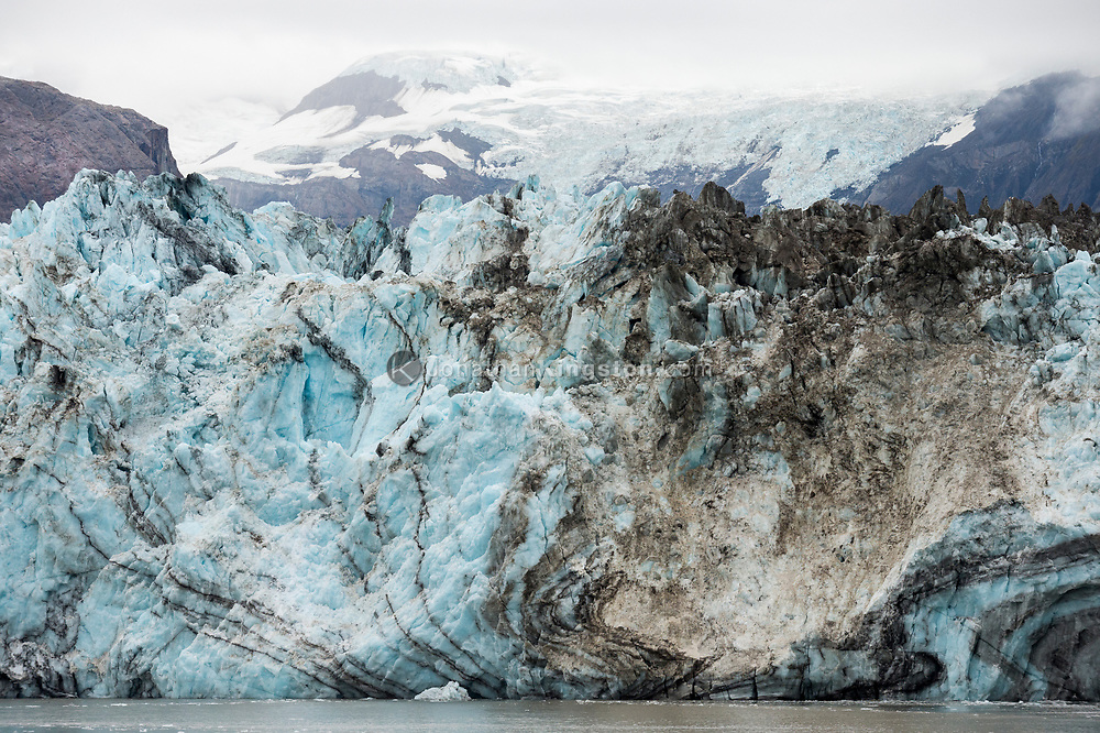 Detail view of the icy face of the Johns Hopkins glacier in Glacier Bay National Park, Alaska.