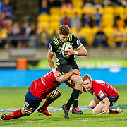 Beauden Barrett during the Super rugby union game (Round 14) played between Hurricanes v Reds, on 18 May 2018, at Westpac Stadium, Wellington, New  Zealand.    Hurricanes won 38-34.