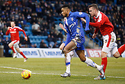 Gillingham forward Dominic Samuel gets through on goal during the Sky Bet League 1 match between Gillingham and Barnsley at the MEMS Priestfield Stadium, Gillingham, England on 13 February 2016. Photo by Andy Walter.