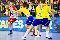 Jim Gottfridsson #24 of SG Flensburg Handewitt and Gal Marguc #11 of RK Celje Pivovarna Lasko during handball match between RK Celje Pivovarna Lasko (SLO) and SG Flensburg Handewitt (GER) in 12th Round of EHF Men's Champions League 2015/16, on February 20, 2016 in Arena Zlatorog, Celje, Slovenia. Photo by Urban Urbanc / Sportida