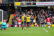 Watford players can't believe the own goal by Troy Deeney of Watford during the Barclays Premier League match between Watford and Manchester United at Vicarage Road, Watford, England on 21 November 2015. Photo by Phil Duncan.