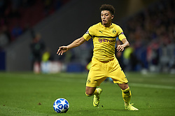 November 6, 2018 - Madrid, Spain - Jadon Sancho of Borussia Dortmund controls the ball during the Group A match of the UEFA Champions League between Atletico de Madrid and Borussia Dortmund at Wanda Metropolitano Stadium, Madrid on November 06 of 2018. (Credit Image: © Jose Breton/NurPhoto via ZUMA Press)