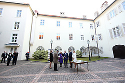 14.03.2016, Zagreb, CRO, der Britische Kronprinz Charles und seine Frau Camilla besuchen Kroatien, im Bild British Crown Prince Charles and his wife Camilla, the Duchess of Cornwall, are visiting Croatia as part of a regional tour that will include Serbia, Montenegro and Kosovo. They met with prime minister Tihomir Oreskovic in Banski dvori. Members of the British royal family signed the Golden Book and got acquainted with the reconstruction of the building after the bombing during the war in 1991. EXPA Pictures © 2016, PhotoCredit: EXPA/ Pixsell/ Igor Kralj/POOL<br /> <br /> *****ATTENTION - for AUT, SLO, SUI, SWE, ITA, FRA only*****
