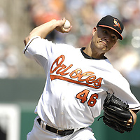 09 September 2007:  Baltimore Orioles pitcher Jeremy Guthrie (46) in action against the Boston Red Sox.  The Red Sox defeated the Orioles 3-2 at Camden Yards in Baltimore, MD.  ****For Editorial Use Only****