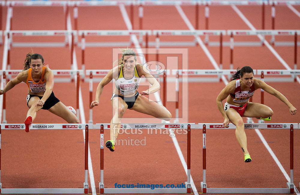 Nadine Visser of Netherlands, Cindy Roleder of Germany and Alina Talay of Belarus compete in the 60m Hurdles Women Final  on day one of the 34th European Indoor Athletics Championships Belgrade 2017 at the Kombank Arena, Belgrade<br /> Picture by EXPA Pictures/Focus Images Ltd 07814482222<br /> 03/03/2017<br /> *** UK &amp; IRELAND ONLY ***<br /> <br /> EXPA-SLO-170303-0001.jpg