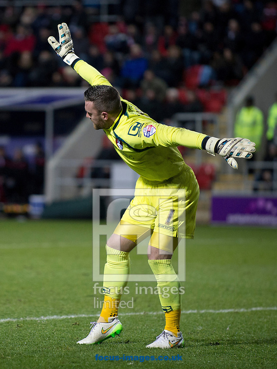 Bournemouth goalkeeper Lee Camp indicates he feels injured during the Sky Bet Championship match at the New York Stadium, Rotherham<br /> Picture by Russell Hart/Focus Images Ltd 07791 688 420<br /> 17/01/2015