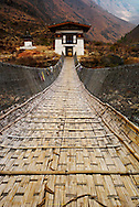 Perspective of the Tamchhog Bridge near Timphu in Bhutan, Asia