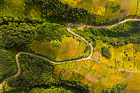 Aeriel view of curvy road in Guatemala farmland on a slope of Acatenango volcano on Monday, Nov. 5, 2018.