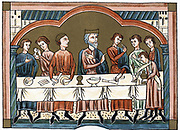 A Plantagenet king of England dining (Henry II? Reigned 1154-89) Chromolithograph from medieval manuscript .