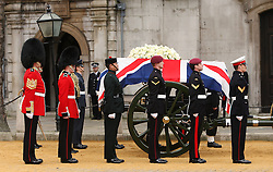 Coffin of former British Prime Minister leaves RAF church St Clement Danes, London, UK, Wednesday 17 April, 2013, Photo by: Julian Andrews / i-Images<br />