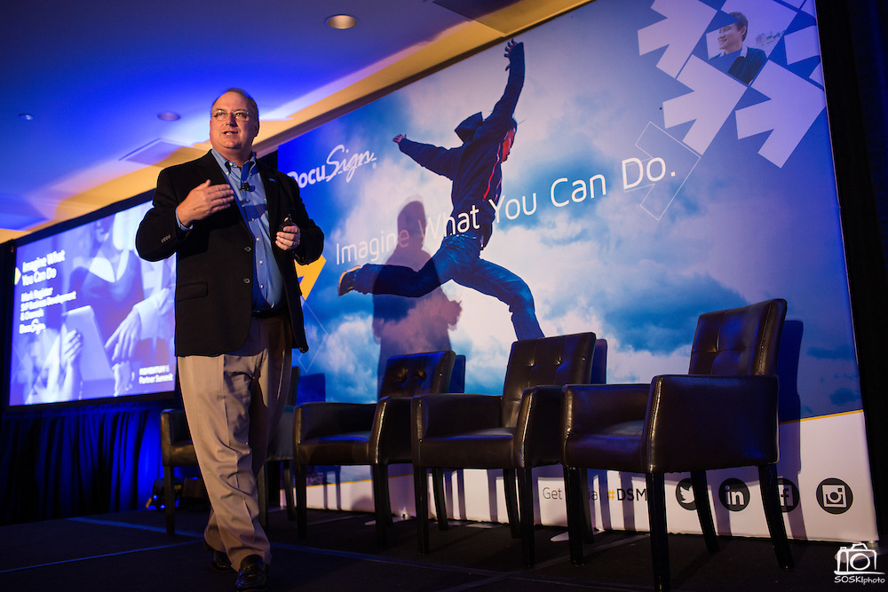 DocuSign hosts its Momentum 2016 summit at Union Square in San Francisco, California, on April 5, 2016. (Stan Olszewski/SOSKIphoto)