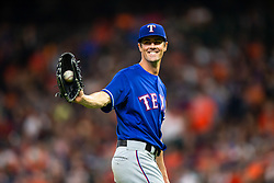 April 13, 2018 - Houston, TX, U.S. - HOUSTON, TX - APRIL 13: Texas Rangers starting pitcher Cole Hamels (35) all smiles in the sixth inning during an MLB game between the Houston Astros and the Texas Rangers and April 13, 2018 at Minute Maid Park in Houston, TX.  (Photo by Juan DeLeon/Icon Sportswire) (Credit Image: © Juan Deleon/Icon SMI via ZUMA Press)