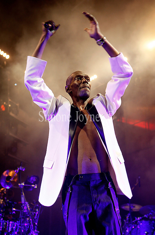 Maxi Jazz of Faithless performs live on stage at Brixton Academy on April 7, 2011 in London, England. Faithless recently announced that they are to split after 15 years at the end of their European tour.  (Photo by Simone Joyner)
