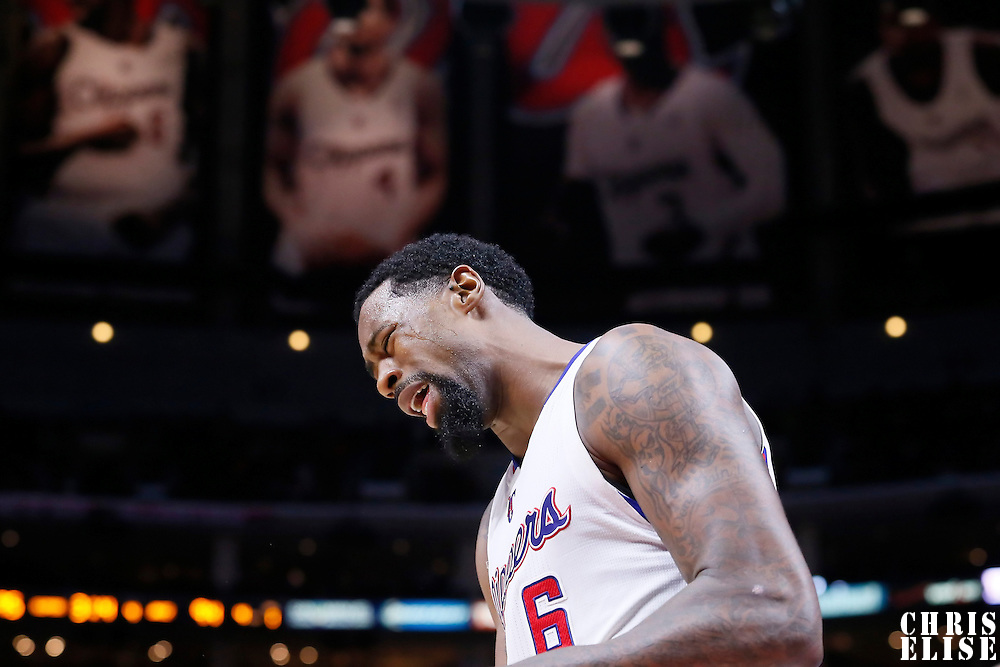 17 October 2014: Los Angeles Clippers center DeAndre Jordan (6) reacts during the Los Angeles Clippers 101-97 victory over the Utah Jazz, in a preseason game, at the Staples Center, Los Angeles, California, USA.