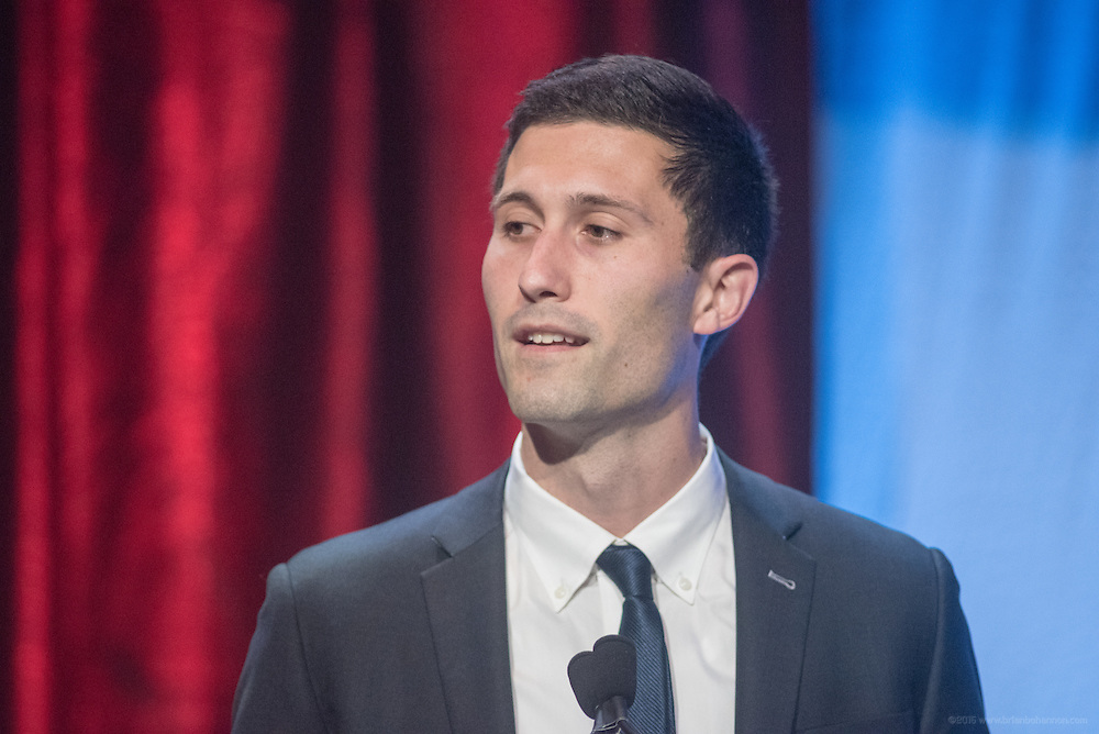 Josh Nesbit of Waterford, Virginia, recipient of one of the six Core Principle Awards, the Confidence award, at the fourth annual Muhammad Ali Humanitarian Awards Saturday, Sept. 17, 2016 at the Marriott Hotel in Louisville, Ky. (Photo by Brian Bohannon for the Muhammad Ali Center)