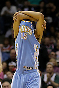 Denver Nuggets' Anthony Randolph(15)  reacts after being called for a foul against the Milwaukee Bucks during the second half of an NBA basketball game against the Denver Nuggets Monday, April 15, 2013, in Milwaukee. (AP Photo/Jeffrey Phelps)