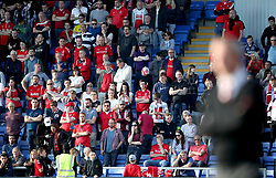 Charlton Athletic fans in the stands during the Sky Bet League One play-off second leg match at Montgomery Waters Meadow, Shrewsbury.