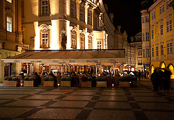 Prague, Czech Republic:  The outdoor restaurant of the Hotel U Prince marks one end of Old Town Square in the heart of the city.