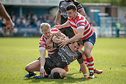 No way through for Lee Smith (Bradford Bulls) during the Kingstone Press Championship match between Oldham Roughyeds and Bradford Bulls at Bower Fold, Oldham, United Kingdom on 2 April 2017. Photo by Mark P Doherty.