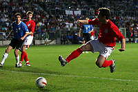 Photo: Paul Thomas.<br /> Estonia v England. UEFA European Championships Qualifying, Group E. 06/06/2007.<br /> <br /> Michael Owen of England jumps to score.