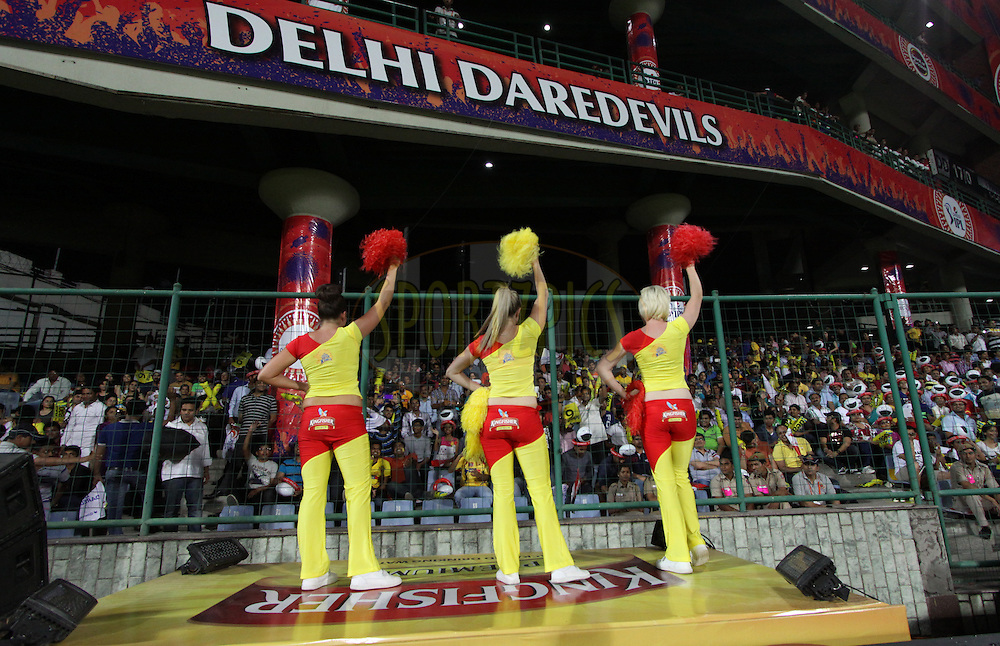 Cheerleaders of Chennai Superkings during match 26 of the Pepsi Indian Premier League Season 2014 between the Delhi Daredevils and the Chennai Superkings held at the Ferozeshah Kotla cricket stadium, Delhi, India on the 5th May  2014<br /> <br /> Photo by Arjun Panwar / IPL / SPORTZPICS<br /> <br /> <br /> <br /> Image use subject to terms and conditions which can be found here:  http://sportzpics.photoshelter.com/gallery/Pepsi-IPL-Image-terms-and-conditions/G00004VW1IVJ.gB0/C0000TScjhBM6ikg