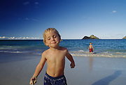 Boy on beach, Kailua, Hawaii