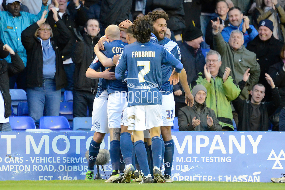 Birmingham City midfielder Stephen Gleeson celebrates first goal during the Sky Bet Championship match between Birmingham City and Middlesbrough at St Andrews, Birmingham, England on 29 April 2016. Photo by Alan Franklin.
