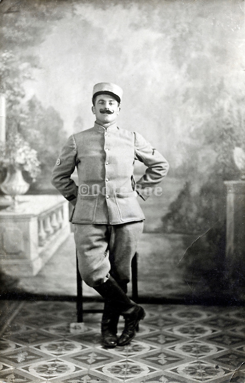 studio portrait of French soldier 1917 Paris