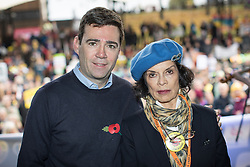 © Licensed to London News Pictures . 12/11/2016 . Manchester , UK . ANDY BURNHAM and BIANCA JAGGER at the rally . Approximately 2000 people march and rally against Fracking in Manchester City Centre . Photo credit : Joel Goodman/LNP