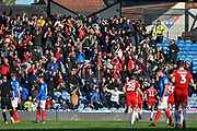 Accrington Stanley fans celebrate after Accrington Stanley Midfielder, Sean McConville (11) scores a goal to make it 0-1 during the EFL Sky Bet League 1 match between Portsmouth and Accrington Stanley at Fratton Park, Portsmouth, England on 4 May 2019.