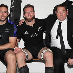 DURBAN, SOUTH AFRICA, 8 October, 2016 - Luke Romano with Kieran Read (captain) of New Zealand and Steve Hansen (Head Coach) of New Zealand during the Rugby Championship match between South Africa and New Zealand at Kings Park in Durban, South Africa. (Photo by Steve Haag)