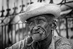 Portrait of an old man in Trinidad.