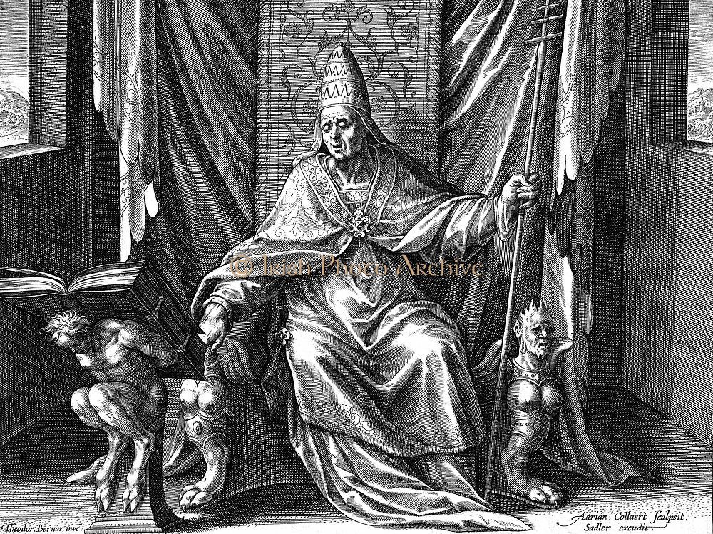Gregory I, The Great (c540-604) Pope from 590. Copperplate engraving by Adrian Collaert (c1520-1567).