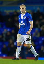 LIVERPOOL, ENGLAND - Thursday, December 17, 2009: Everton's youngest ever player in Europe, Jake Bidwell makes his debut against FC BATE Borisov during the UEFA Europa League Group I match at Goodison Park. (Pic by David Rawcliffe/Propaganda)