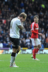 Derby County's Johnny Russell cuts a dejected figure - Photo mandatory by-line: Dougie Allward/JMP - Mobile: 07966 386802 - 17/01/2015 - SPORT - Football - Derby - iPro Stadium - Derby County v Nottingham Forest - Sky Bet Championship