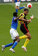 Troy Deeney of Watford gets up above Wilfred Ndidi of Leicester City during the Premier League match at Vicarage Road, Watford. Picture date: 20th June 2020. Picture credit should read: Darren Staples/Sportimage