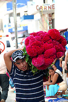 """MEXICO, Veracruz, Tantoyuca, Oct 27- Nov 4, 2009. Business is brisk for the red """"mano de leon,"""" or lion's paw, in the market at Huejutla. """"Xantolo,"""" the Nahuatl word for """"Santos,"""" or holy, marks a week-long period during which the whole Huasteca region of northern Veracruz state prepares for """"Dia de los Muertos,"""" the Day of the Dead. For children on the nights of October 31st and adults on November 1st, there is costumed dancing in the streets, and a carnival atmosphere, while Mexican families also honor the yearly return of the souls of their relatives at home and in the graveyards, with flower-bedecked altars and the foods their loved ones preferred in life. Photographs for HOY by Jay Dunn."""