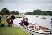 Henley on Thames, United Kingdom. 2016 Henley Masters' Regatta. Henley Reach. England. on Saturday  09/07/2016   [Mandatory Credit/ Peter SPURRIER/Intersport Images]<br /> <br /> Spectators disembark after watching a race, Rowing, Henley Reach, Henley Masters' Regatta.<br /> <br /> General View,  Henley Reach, venue, for the 2016 Henley Masters Regatta.