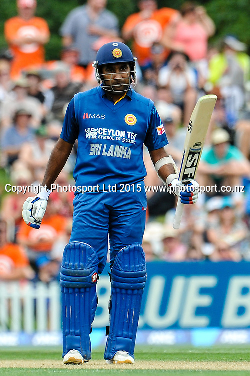 Mahela Jayawardene of Sri Lanka celebrates a 50 in the first ODI, Black Caps v Sri Lanka, at Hagley Oval, Christchurch, 11 January 2015. Photo:John Davidson/www.photosport.co.nz