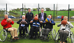 Wheelchair Basketball was on the programme of activities at the opening of the Greenway Park last friday, pictured were Charlie Lambert Mayo Sports Patnership, Michael Ring Minister of State for Tourism & Sport, Ray McNamara Mayo Sports Partnership , Tom Chambers (Access Mayo), Cllr Martin Keane, Derek Carson and Cllr Tereasa McGuire Cathaoirleach Westport Town Council ...Pic Conor McKeown