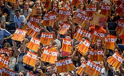 02-04-2017 NED:  CEV U18 Europees Kampioenschap vrouwen dag 2, Arnhem<br /> Nederland - Rusland 3-0 / Support Oranje publiek block