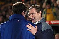 Photo: Ashley Pickering.<br /> Norwich City v Blackpool. The FA Cup. 13/02/2007.<br /> Norwich manager Peter Grant (R) shakes hands with Blackpool manager Simon Grayson before the start of the match