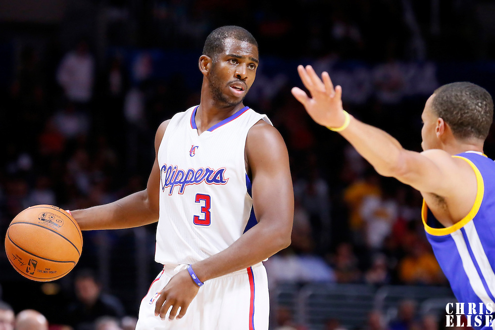 07 October 2014: Los Angeles Clippers guard Chris Paul (3) is seen during the Golden State Warriors 112-94 victory over the Los Angeles Clipper, in a preseason game, at the Staples Center, Los Angeles, California, USA.