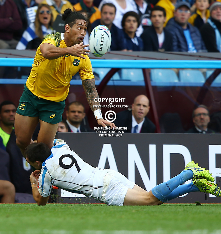 BIRMINGHAM, ENGLAND - SEPTEMBER 27: Joe Tomane of Australia during the Rugby World Cup 2015 Pool A match between Australia and Uruguay at Villa Park on September 27, 2015 in Birmingham, England. (Photo by Steve Haag/Gallo Images)