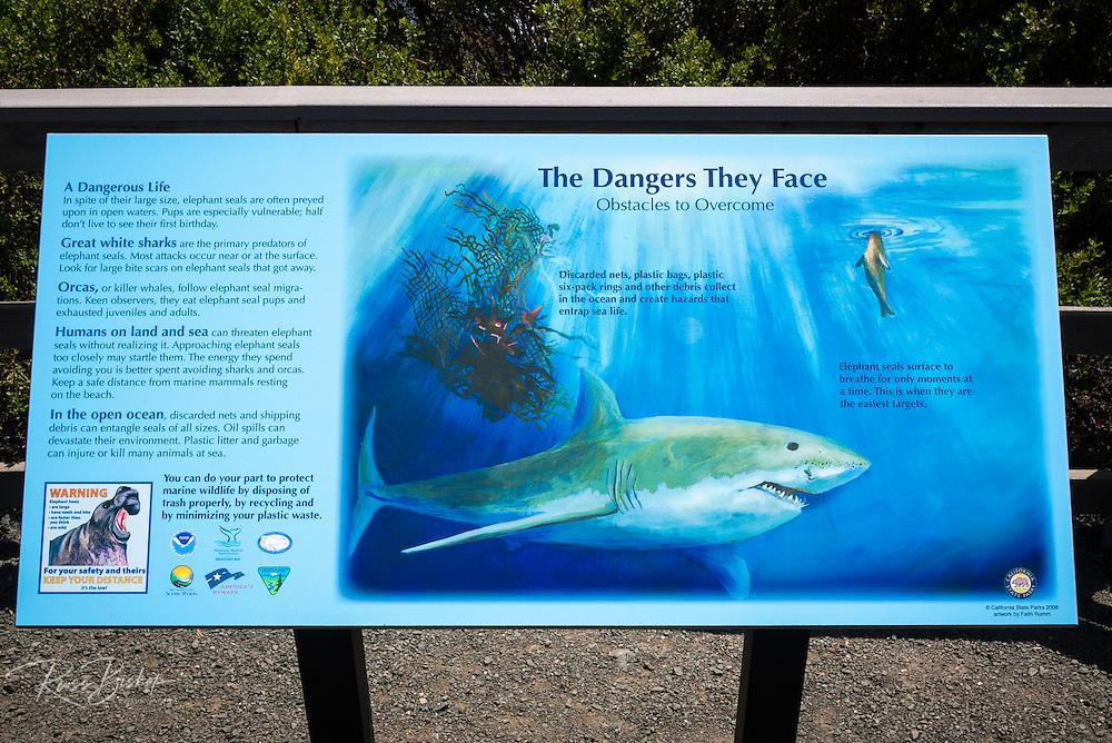 Interpretive sign at the Piedras Blancas Elephant Seal Rookery, San Simeon, California USA