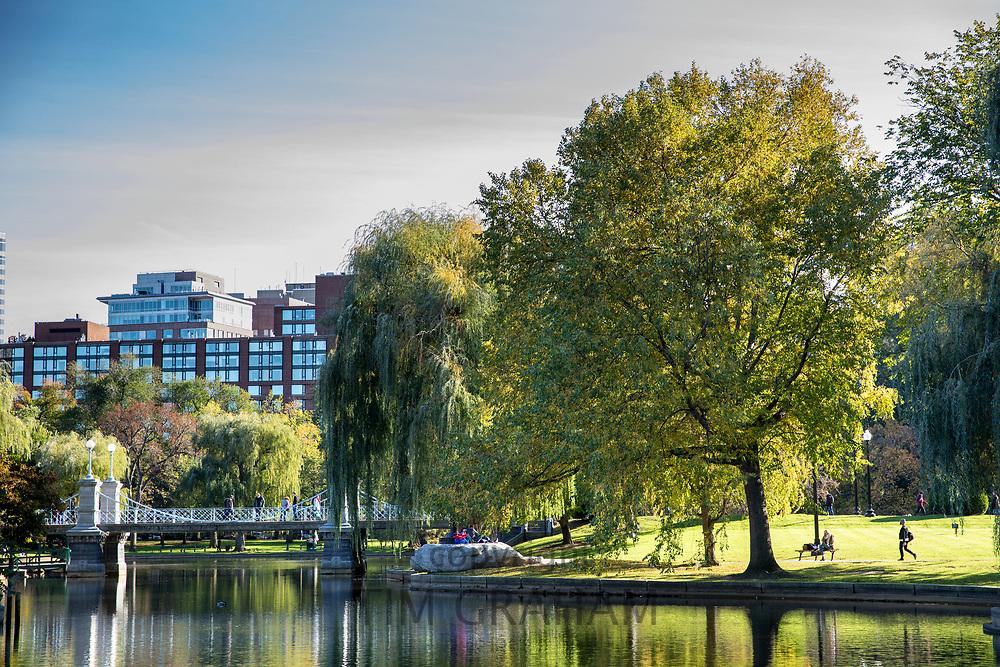People strolling in the Public Garden city park in Boston, Massachusetts, USA