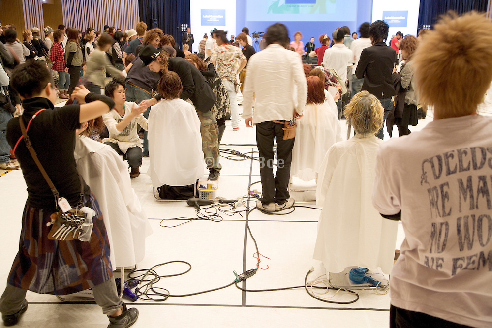 young people during a hair make up contest in Japan